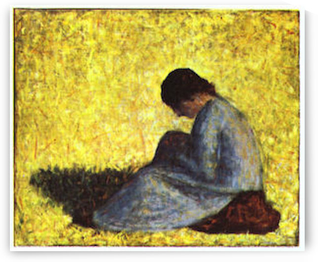 Girl seated on the lawn by Seurat by Seurat