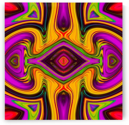 psychedelic symmetry art abstract in pink yellow purple green and red by TimmyLA