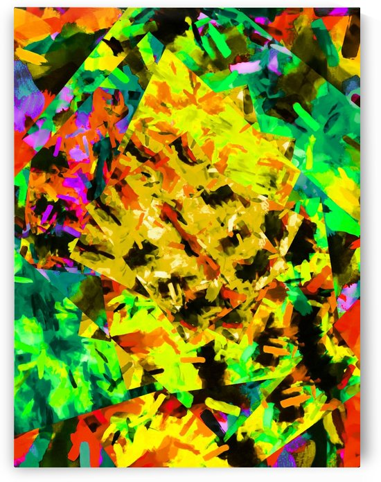 psychedelic yellow green brown red orange abstract painting background by TimmyLA