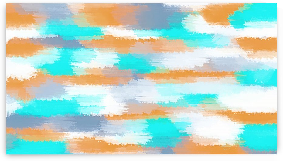 orange and blue painting abstract with white background by TimmyLA