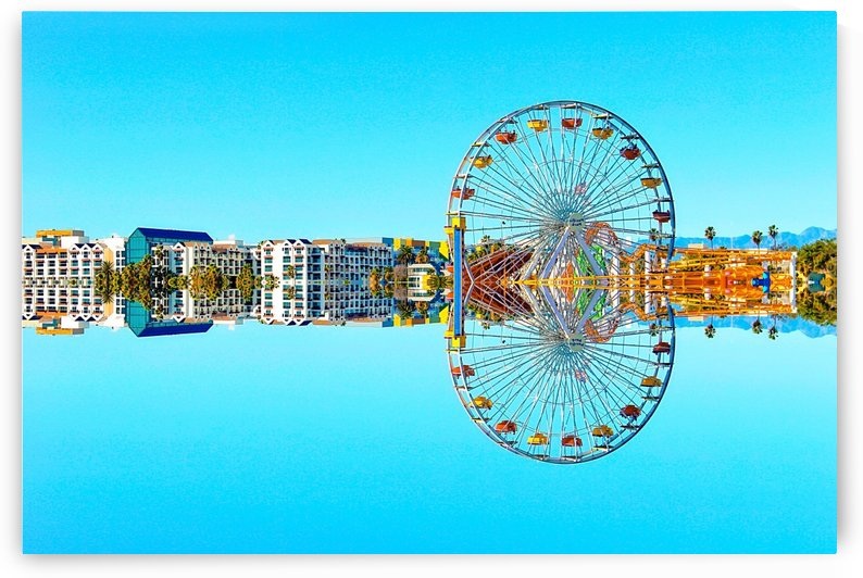 ferris wheel with buildings and blue sky by TimmyLA