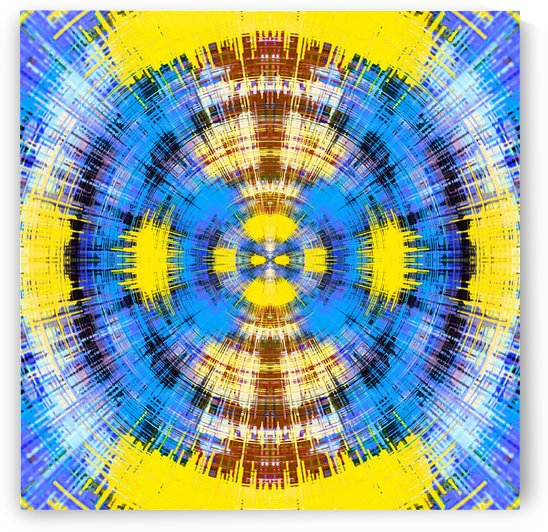 geometric blue yellow and brown circle plaid pattern abstract background by TimmyLA