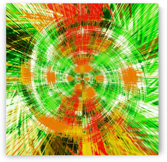 geometric green red and orange circle plaid pattern abstract background by TimmyLA