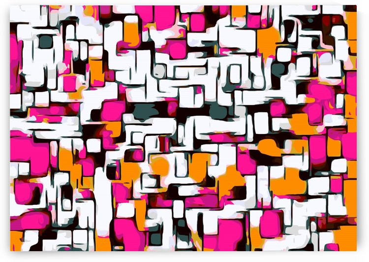 pink orange and black lines drawing abstract with white background by TimmyLA