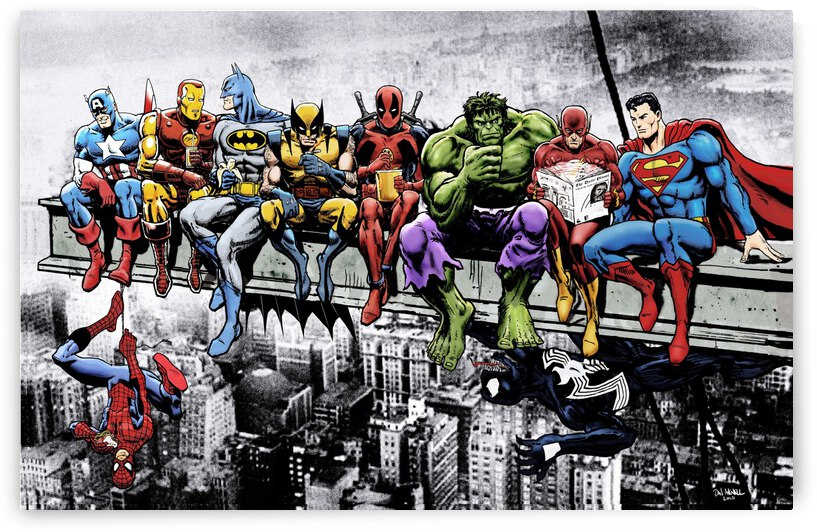Marvel and DC Superheroes Lunch Atop A Skyscraper Featuring Captain America, Iron Man, Batman, Wolverine, Deadpool, Hulk, Flash & Superman by Dan  Avenell
