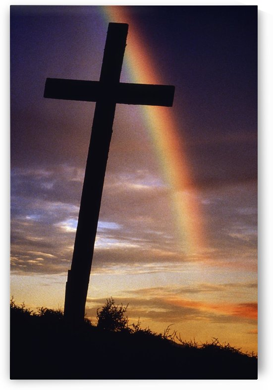 Knockmealdown Mountain, County Waterford, Ireland; Rainbow Over Cross by PacificStock