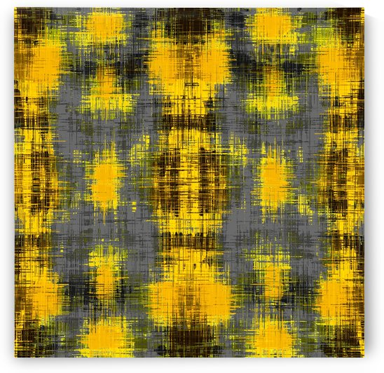 geometric plaid pattern painting abstract in yellow brown and black by TimmyLA
