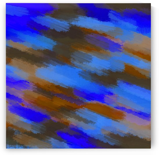 camouflage splash painting abstract in blue brown and dark blue by TimmyLA