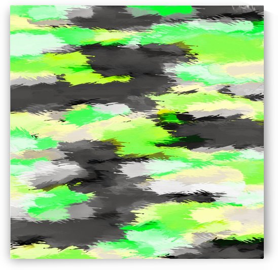 psychedelic camouflage splash painting abstract in green yellow and black by TimmyLA