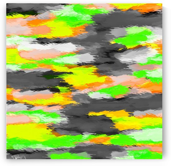 psychedelic camouflage splash painting abstract in orange green yellow and black by TimmyLA