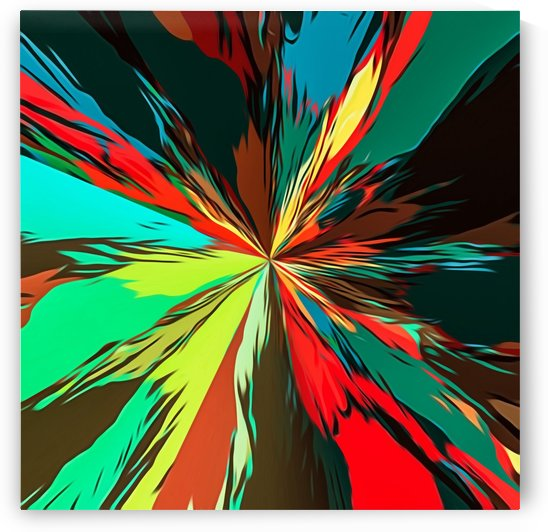 geometric splash painting abstract in red green yellow blue and brown by TimmyLA