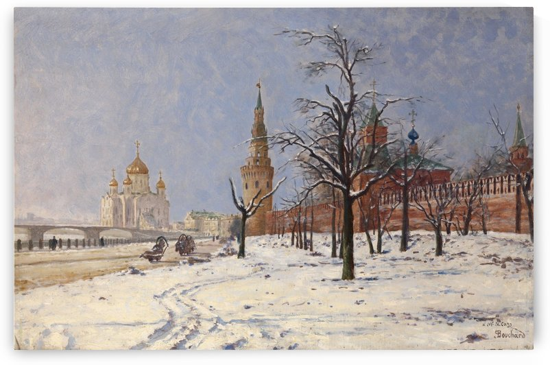 View of the Kremlin and Cathedral of Christ the Saviour in Winter by Paul Louis Bouchard