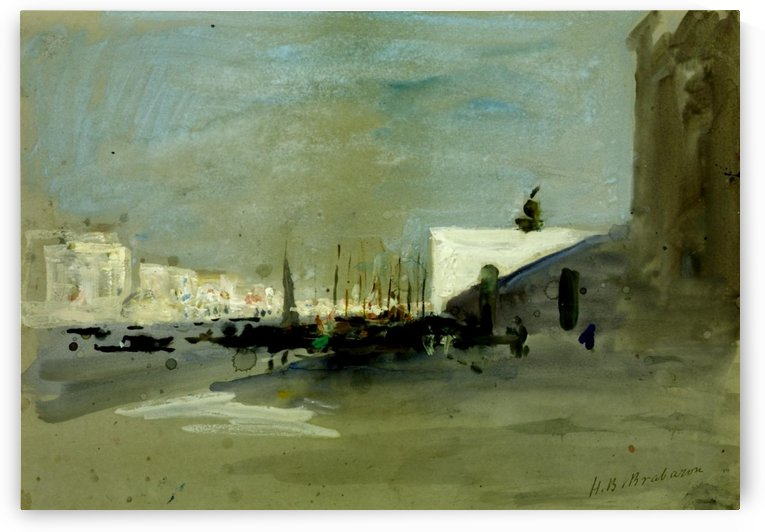 Harbour scene in Venice by Hercules Brabazon Brabazon