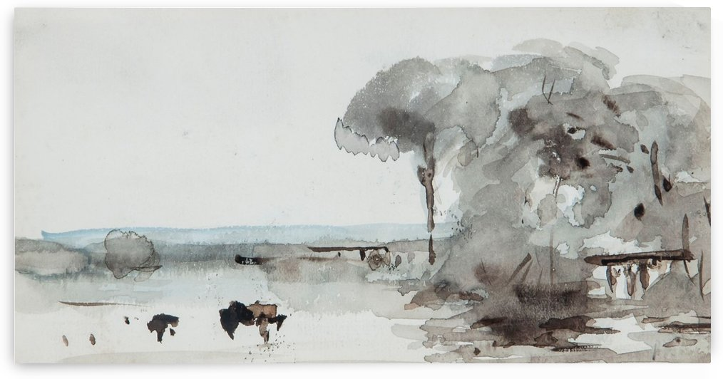 Cattle in a meadow by Hercules Brabazon Brabazon