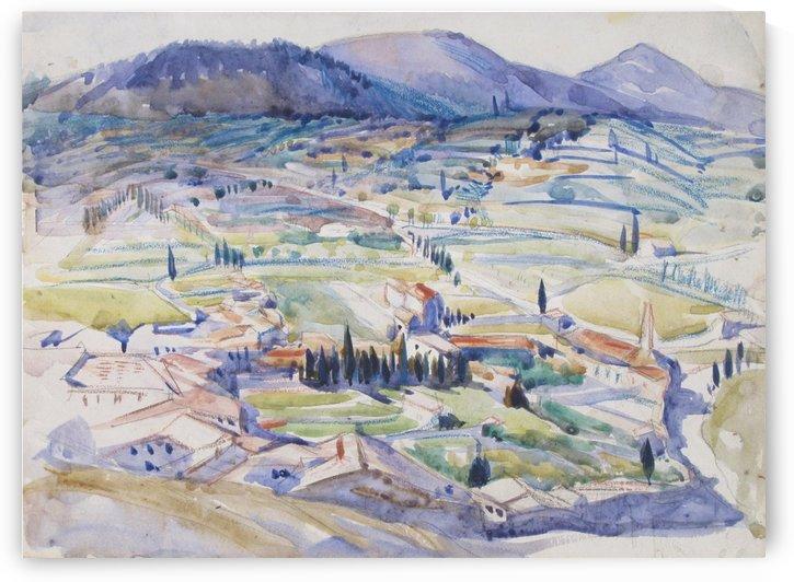 A Tuscan landscape by Hercules Brabazon Brabazon