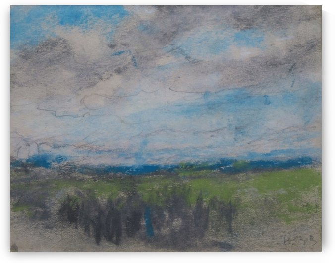High windy sky over small copse by Hercules Brabazon Brabazon
