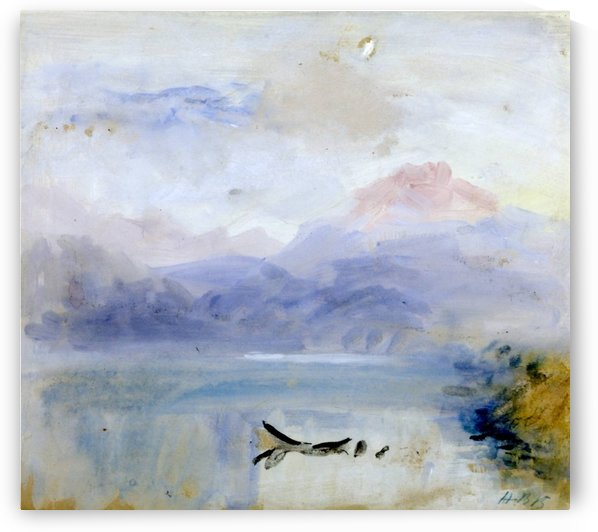 View of a landscape with a cliff surrounded by clouds by Hercules Brabazon Brabazon