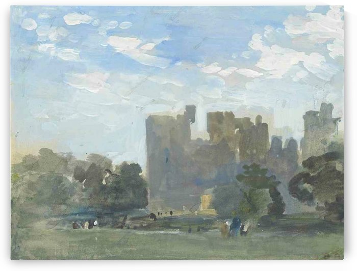 A moated castle by Hercules Brabazon Brabazon