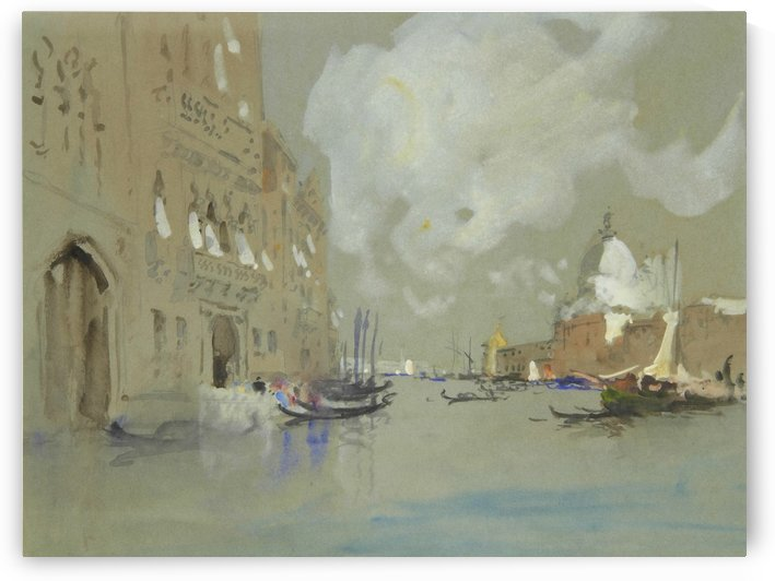 View of Venice along a canal by Hercules Brabazon Brabazon