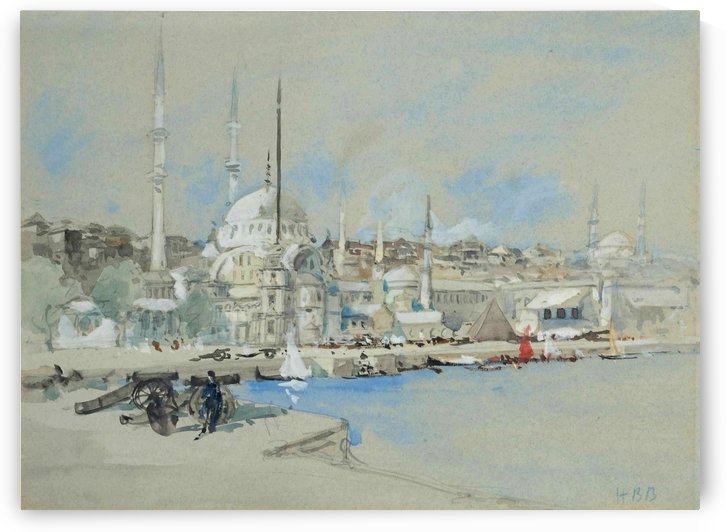 Suleymaniye Mosque with the Sultanahmet Mosque beyond, on the Golden Horn by Hercules Brabazon Brabazon