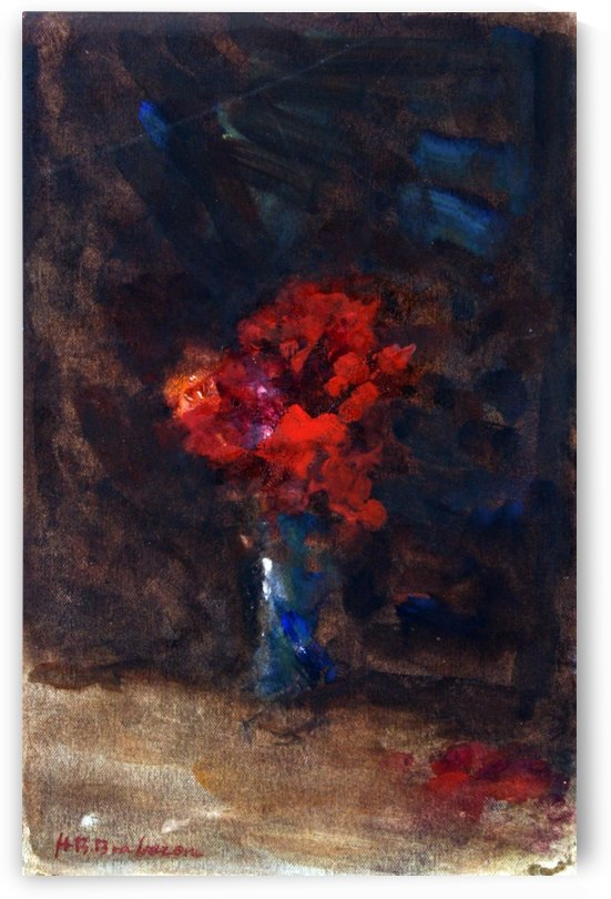 Red flowers in a blue vase by Hercules Brabazon Brabazon