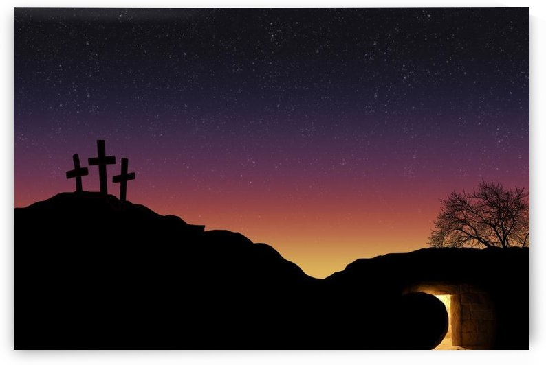 Empty Tomb And Three Crosses by PacificStock
