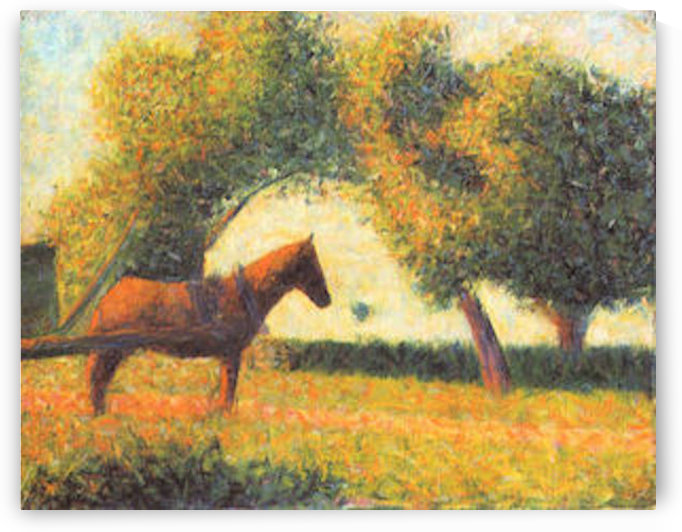 Horse and wagon by Seurat by Seurat