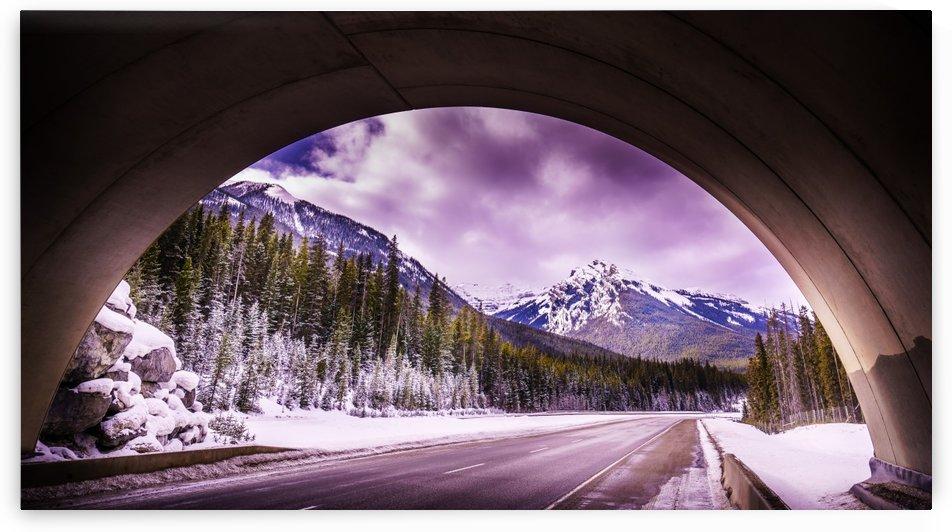 Mountains through an overpass by Lisa Poirier