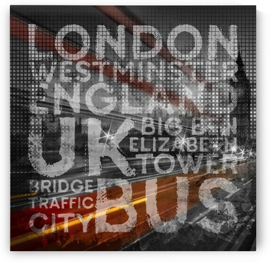 Graphic Art LONDON Westminster Bridge Traffic by Melanie Viola