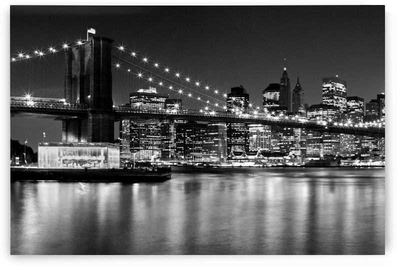 Night Skyline MANHATTAN Brooklyn Bridge | Monochrome by Melanie Viola