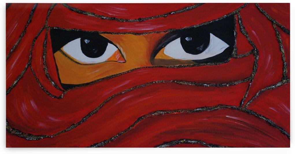 Veiled woman  red by Babetts Bildergalerie