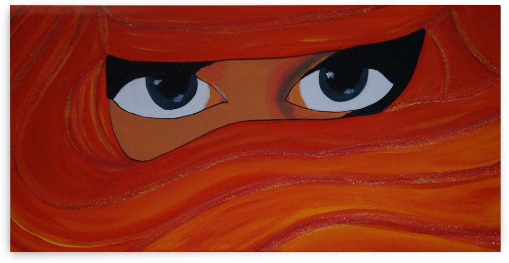 Veiled woman Red-orange-yellow by Babetts Bildergalerie