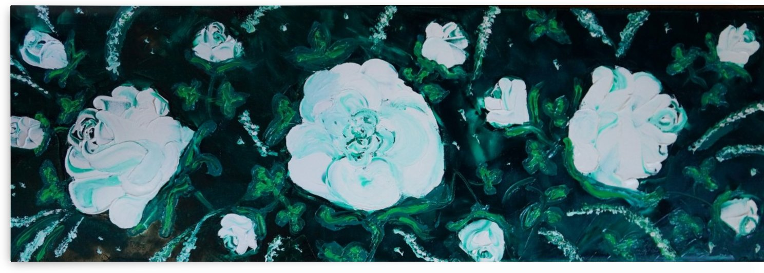 White roses in oil by Babetts Bildergalerie