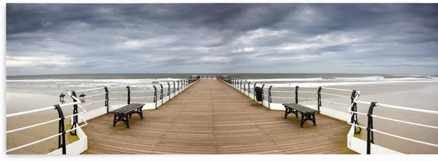 Dock With Benches, Saltburn, England by PacificStock