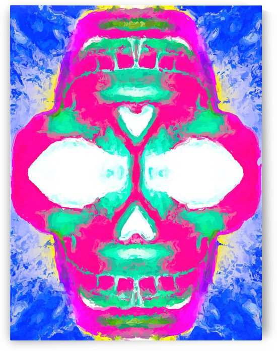painting pink smiling skull head with blue and yellow background by TimmyLA