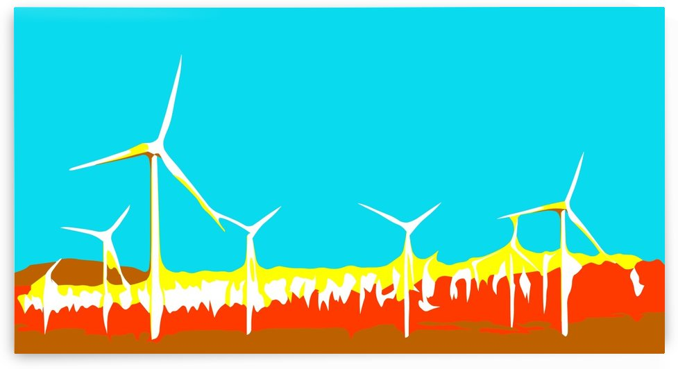 wind turbine in the desert with blue brown red and yellow background by TimmyLA