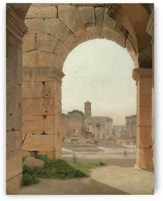 Forum Romanum set fra Colosseum by Christoffer Wilhelm Eckersberg
