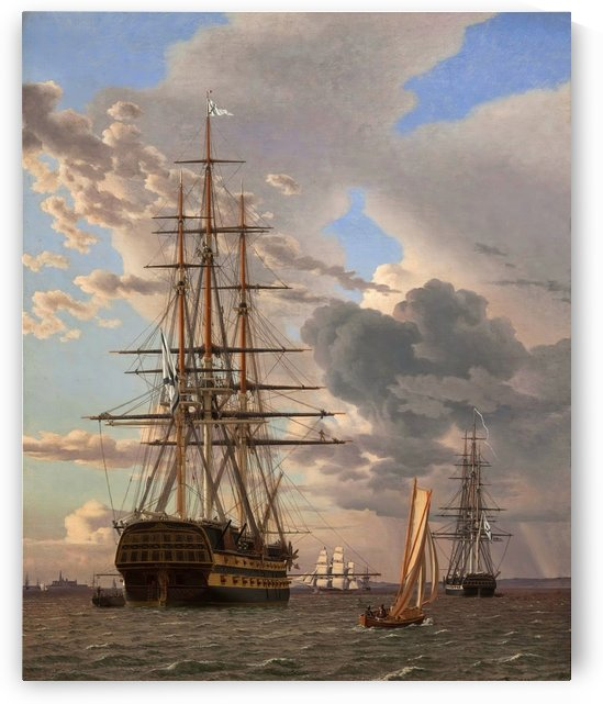 A Russian ship of the Line Asow and a Frigate at Anchor in the Roads of Elsinore by Christoffer Wilhelm Eckersberg