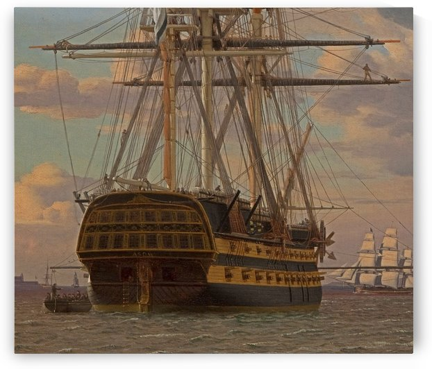 The Russian ship of the line Asow and a frigate at Anchor in the Roads of Elsinore by Christoffer Wilhelm Eckersberg