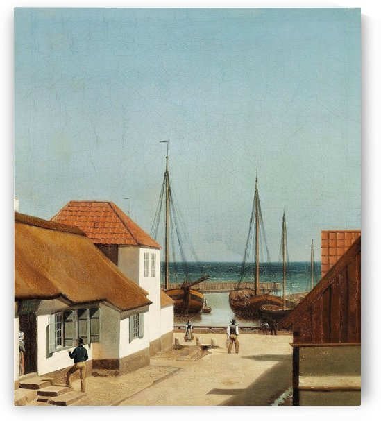 Boats leaving the port by Christoffer Wilhelm Eckersberg