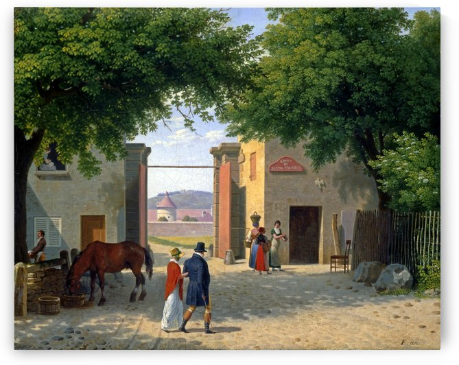 Figures walking around a villa near Rome by Christoffer Wilhelm Eckersberg