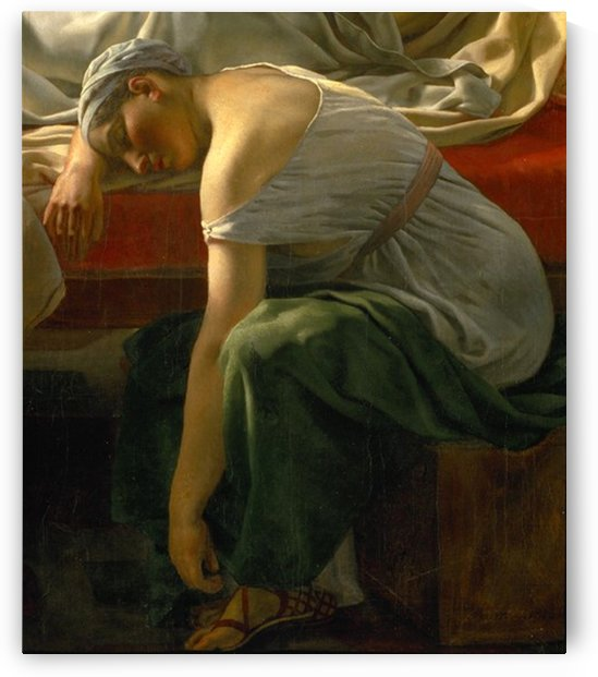 A sleeping woman in antique costume by Christoffer Wilhelm Eckersberg