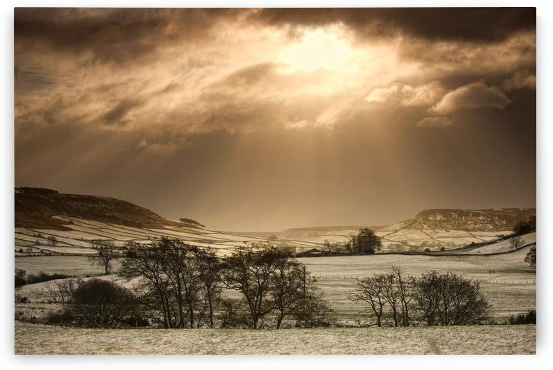 North Yorkshire, England; Sun Shining Over Sepia-Toned Winter Landscape by PacificStock