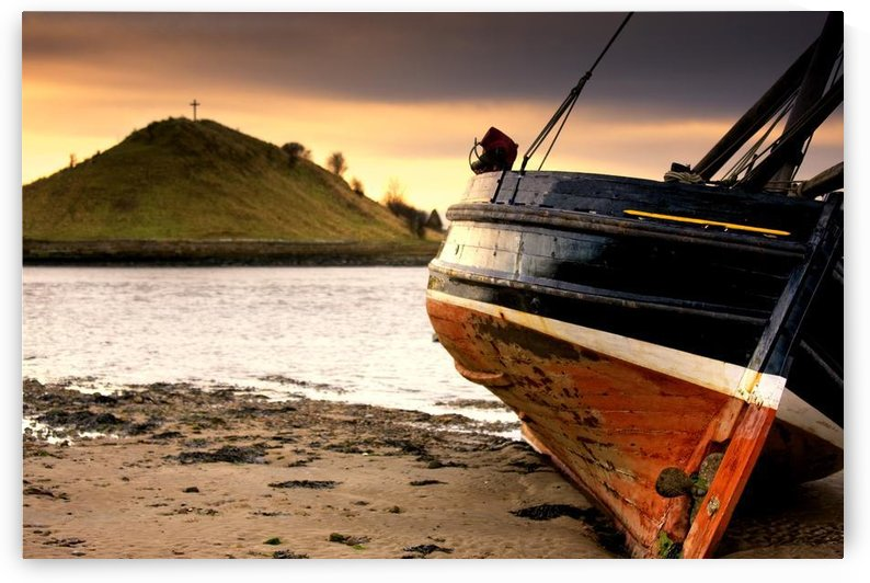 Boat On Beach At Low Tide; Alnmouth, Northumberland, England by PacificStock