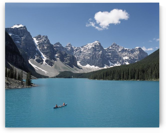 Canoeing On Moraine Lake, Banff National Park; Alberta, Canada by PacificStock