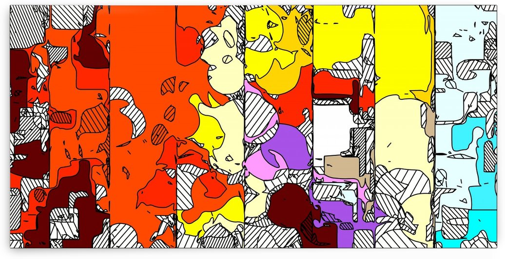 geometric drawing and painting abstract in orange red yellow purple brown and blue by TimmyLA
