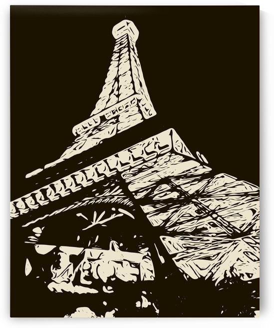 drawing Eiffel Tower, Paris in black and white by TimmyLA