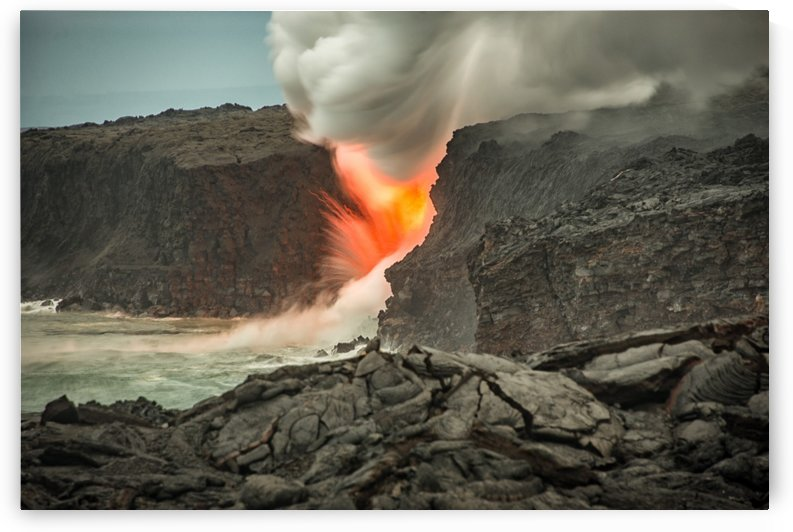 Lava Entering the Ocean by Andrea Spallanzani