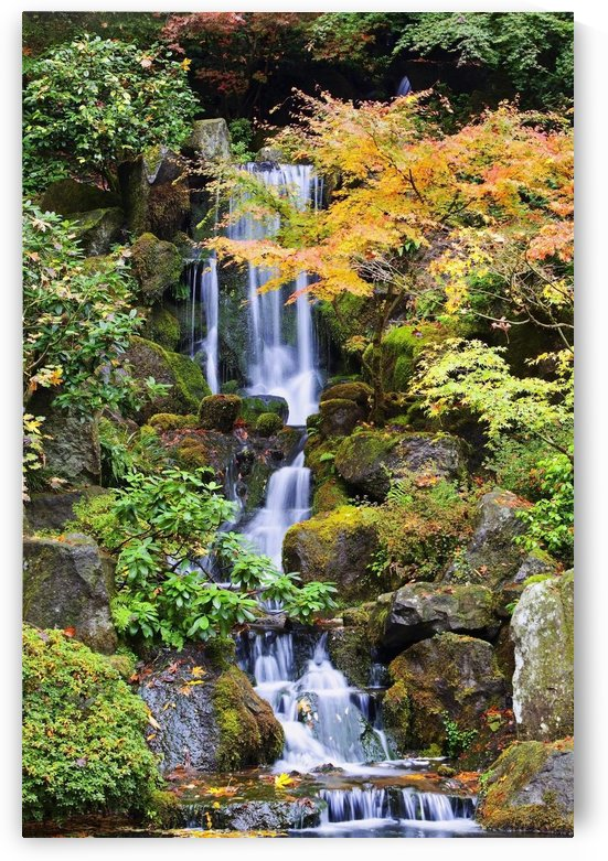 Portland, Oregon, United States Of America; A Waterfall In The Portland Japanese Garden In Autumn by PacificStock