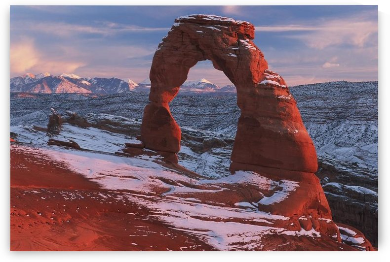Delicate Arch At Sunset In Winter In Arches National Park; Utah, Usa by PacificStock